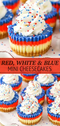These Red, White and Blue Mini Cheesecakes are smooth, creamy and easy to make! Perfect for your patriotic celebration! Best Cheesecake, Cheesecake Recipes, Dessert Recipes, Patriotic Desserts, Mini Cheesecakes, Mini Cupcakes, Delicious Desserts, Sweets, Baking