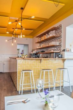 Syr in Utrecht Restaurant Interior Design, Bathroom Interior Design, Interior Ideas, Yellow Restaurant, Kids Cafe, Cafe Concept, Interior Window Shutters, Small Cafe Design, Yellow Interior