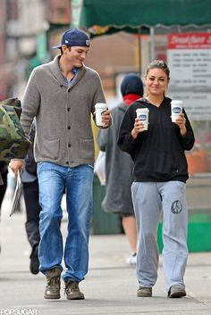 Mila Kunis and Ashton Kutcher Getting Coffee in NYC. freakin favorite peoples ever.