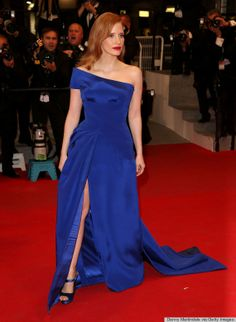 Jessica Chastain at Cannes Film Festival 2014 wearing Atelier Versace and Rogier Vivier shoes.