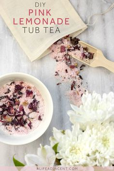 DIY Tub Tea — relax and unwind with this DIY pink lemonade bath tea recipe. Natural ingredients like colloidal oatmeal nourish your skin, while epsom and himalayan salts soothe muscle aches & pains. Contains essential oils for an all-natural pink lemonade fragrance! #diybeauty #greenbeauty #essentialoils #bathtea #tubtea #naturalremedies #giftideas