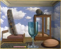 From San Francisco Museum of Modern Art (SFMOMA) , René Magritte, Les valeurs personnelles (Personal Values) (1952), Oil on canvas, 31 1/2 × 39 3/8 in