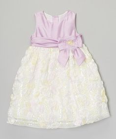 This Lilac & Yellow Bow Flower Dress - Toddler is perfect! #zulilyfinds
