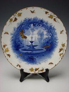 Antique Aesthetic Minton Blue Gilt Enamel Butterflies Bugs Fountain Scene Plate c1870