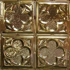 Tin Ceiling Tile Pattern has four quadrants of beveled clovers & hammered fill pattern). With its medieval styling, it creates dramatic ceilings. Gold Metal, Gold Ceiling, Decorative Boxes, Tin Ceiling Tiles, Ceiling, Metal, Tin, Tile Patterns, Ceiling Tile