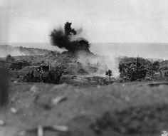 [Photo] US Marines scoring a direct hit on a Japanese pillbox, Iwo Jima, Japan, 19 Feb 1945 Battle Of Iwo Jima, Ww2 Pictures, Up In Smoke, Us Marines, Photo Caption, Military Veterans, Time Photo, Beach Photos, World War Two