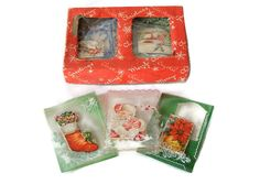 Christmas Card Box Set Unused Vintage Christmas Greeting Cards 10 in Original Box Christmas Crystals Card Set Nostalgic Christmas Graphics by LeasAtticSpace on Etsy