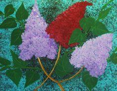 3 lilacs flowers by Elizabeth Janus