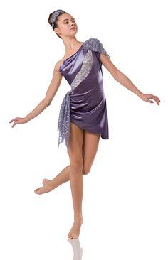 Leotard: Lavender satin velour, lavender sequin lace, and nude spandex ;  Asymmetrical Dress: (Removable) Lavender satin velour ;  Trim: Adjustable strap ;  Appliqué Headpiece Included ; #dancecostumes #dance #dancecompetition #artstonethecompetitor #moderndance #lyricalmodern #lyricaldance Modern Contemporary Dance, Contemporary Dance Costumes, Jazz Dance Costumes, Ballet Costumes, Lyrical Dance, Jazz Shoes, Dance Tights, Dance Outfits, Asymmetrical Dress