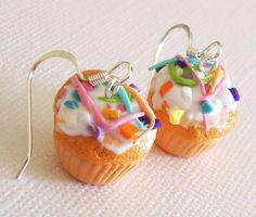 Confetti Cupcake Earrings Clay Mini Food Earrings by EmsJewelry, $10.00