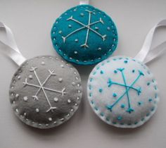 Felt ornament snowflakes by whimsicalpoppysmic on Etsy, $18.50