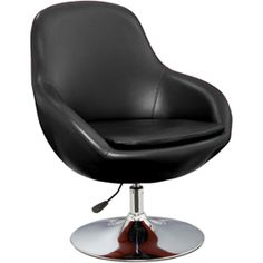 furnitureinfashion.net Justin Height Adjustable Black Tub Chair In PU And Chrome - £150