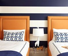 Navy stripes add a bold look to this chic kid room.