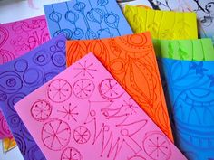 HANDMADE doodle printing plates and foam stamps (doodle designs are burned into self-adhesive craft foam) ~ creativity unleashed by Traci Bautista