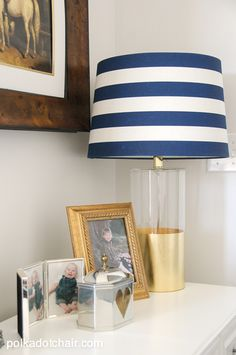 Navy + Gold Guest Bedroom Decorating Ideas on polkadotchair.com Love the lamp! maybe fill with sea shells...