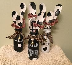 Cow Farm Decor Housewarming Farmhouse Farm Kitchen Upcycled Wood Spoons Jar with spots Country Decor Cow Kitchen Sill Setter Choose OneHome kitchen ideas ideas color ideas modern ideas for small spaces ideas on a budget Cow Kitchen Decor, Cow Decor, Kitchen Decor Themes, Farm Kitchen Ideas, Prim Decor, Decorating Kitchen, Mason Jar Crafts, Bottle Crafts, Mason Jars