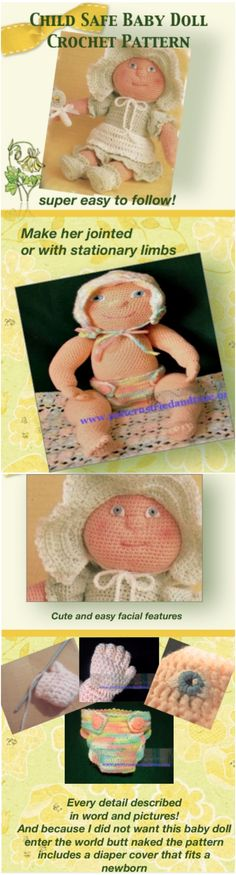 Crochet Pattern Child Safe Baby Doll, Cabbage Patch Style, American Girl Doll Size, Easy To Follow Toy Pattern, Baby Shower Gift. Finish this pattern, send me pictures and you will recieve doll clothes or any other pattern of equal value  FREE.