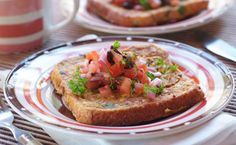 Savoury French Toast Savoury French Toast, Breakfast Recipes, Dinner Recipes, Savory Snacks, Omelette, Salmon Burgers, Salsa, Appetizers, Food And Drink