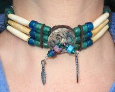 Bone Choker, Native American Bone Choker, blue,green, beads  by: Elise Marks