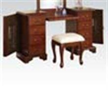 Picture of Cherry Finish Vanity Mirror & Stool Vanity Stool, Cherry Finish, Office Desk, Mirror, Furniture, Home Decor, Desk Office, Decoration Home, Desk