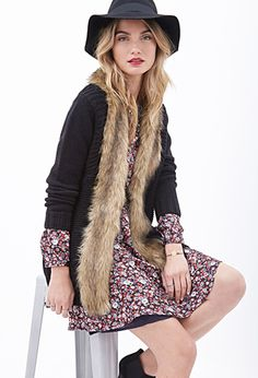 Faux Fur-Collared Cardigan | FOREVER 21 - 2000102669
