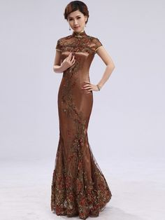 Brown Sequined Ankle-length Mermaid Chinese Qipao / Cheongsam Dress