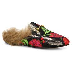 b1e5a68b2bb3 Gucci Gucci Princetown Floral Brocade Lamb Fur Mule Slides ( 840) ❤ liked  on Polyvore