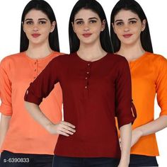Tops & Tunics Women's Rayon Combo Tops Fabric: Rayon Sleeve Length: Three-Quarter Sleeves Pattern: Solid Multipack: 3 Sizes: S (Bust Size: 36 in Length Size: 26 in)  XL (Bust Size: 42 in Length Size: 26 in)  L (Bust Size: 40 in Length Size: 26 in)  M (Bust Size: 38 in Length Size: 26 in)  XXL (Bust Size: 44 in Length Size: 26 in) Country of Origin: India Sizes Available: S, M, L, XL, XXL   Catalog Rating: ★4.1 (11681)  Catalog Name: Women's Rayon Combo Tops CatalogID_1016457 C79-SC1020 Code: 014-6390833-2301