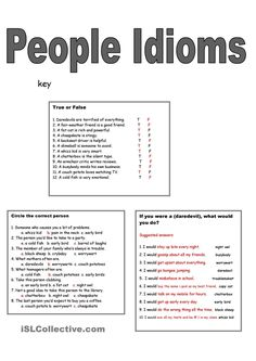 5 Page People Idioms Poster, Pictionary, Exercises