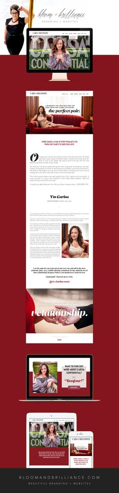 DEEP, SEXY + SOULFUL WEBSITE DESIGN  Carisa Montooth is a dating and relationship coach, energy worker and all-around bombshell!  With Timothi Jane Graham of Timothi.com, we created a deep, sexy, soulful brand using rich tones of red, dark berry, rose gold and champagne, a striking and layered font palette, stunning photography and put it all together in a romantic and alluring look reminiscent of high fashion magazines.