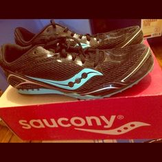Saucony Track Spikes! Barely worn Worn for 4 races, outdoor track. Missing a few spikes, but great condition. Saucony Shoes
