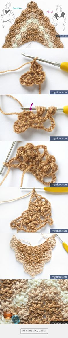 "#Crochet_Stitches -- ""Interesting puff stitch floral pattern from mypicot. Useful for insertion/collar or shawl. Lots more details at site."" 4U from #KnittingGuru"