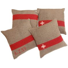 Vintage Swiss Army Blanket Pillows