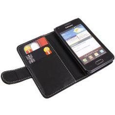 iTALKonline NERO Esecutivo Portafoglio Custodia Cover Coperchio con Carta di Credito / Porta Biglietti Per Samsung i9070 Galaxy S Advance