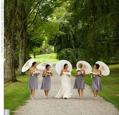 Love everything about this, the brides maid dresses, the setting, the flowers ...everything!