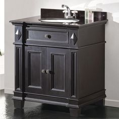 "Miseno MVES31 31"" Free Standing Vanity Set with Cabinet Granite Vanity Top Und Antique Black Fixture Vanity Single"