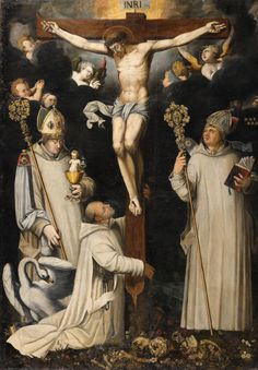 Christ on the Cross with Saints Bruno, Hugh of Lincoln, and Hugh of Chateauneuf, by an unnamed German painter; found on Sotheby's