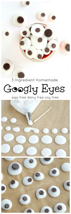 Homemade Googly Eyes (vegan egg free dairy free soy free)- Only 3 ingredients! Make desserts cuter with allergy friendly candy eyes.