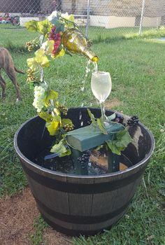 fantastic garden waterfall for small garden ideas you will love it 5 Wine Bottle Fountain, Wine Bottle Garden, Diy Water Fountain, Diy Bottle, Wine Bottles, Bottle Crafts, Small Fountains, Garden Fountains, Water Fountains