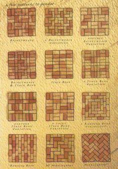 Brick patterns- inspiration for wine cork trivet patterns Mehr Brick Tiles, Brick Flooring, Patio Flooring, White Flooring, Modern Flooring, Brick Paver Patio, Red Brick Pavers, Paver Walkway, Brick Walkway Diy