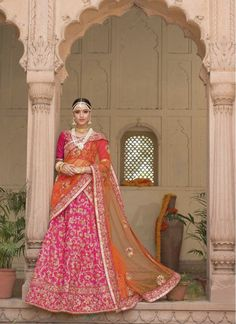 Ceremonial Hot Pink and Orange Net Designer Wedding Lehenga choli Bridal Lehenga, Lehenga Choli, Sari, Orange Lehenga, Indian Ethnic Wear, Western Wear, Wedding Designs, Hot Pink, Dil Se