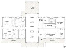 Floor Plan Friday: 5 bedrooms, open plan living - My Website 2020 Metal House Plans, Open House Plans, House Layout Plans, Floor Plan Layout, Ranch House Plans, Dream House Plans, House Layouts, House Floor Plans, Metal Homes Floor Plans
