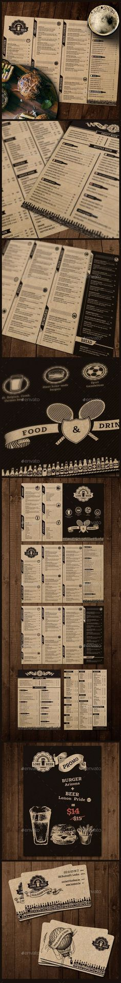 Lore Beer Menu is perfect solution for Pub, Bar as either Cafe or Restaurant. It can be printed on craft paper to give the design a finished artisanal look. • Available here → http://graphicriver.net/item/lore-beer-pub/12239806?s_rank=204&ref=pxcr