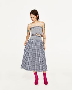 ZARA - WOMAN - GINGHAM CHECK SKIRT AND TOP