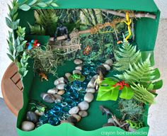Rainforest Small World Play Set - DIY Toys from Crayon Box Chronicles at B-Inspired Mama Ecosystems Projects, Science Projects, School Projects, Projects For Kids, Crafts For Kids, Dinosaur Projects, Project Ideas, School Ideas, Rainforest Crafts