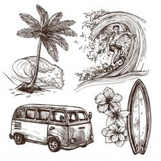 Buy Surfing Sketch Icon Set by macrovector on GraphicRiver. Surfing sport and lifestyle wave surfboard beach and wan sketch decorative icon set isolated vector illustration. Surf Tatoo, Surfing Tattoo, Surf Drawing, Beach Drawing, Surfboard Drawing, Surf Vintage, Beach Sketches, Hawaiianisches Tattoo, Tattoos