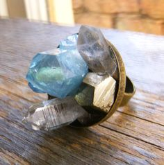 Aqua Aura Raw Crystal Cluster Ring - Crystal Garden
