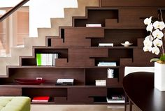 bookcase under the stairs