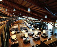 A Starbucks and a bookstore.all in one beautiful library at Takeo City Library in Saga, Kyushu. City Library, Library Room, Library Design, Library Architecture, Architecture Design, Modern Japanese Architecture, Library Bookshelves, Takeo, Event Room