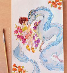 pineberrrydraws:Spirited away watercolor fanart! pineberrrydraws: Spirited away watercolor fanart! Studio Ghibli Art, Studio Ghibli Movies, Anime Kunst, Anime Art, Personajes Studio Ghibli, Spirited Away Art, Chihiro Cosplay, Chihiro Y Haku, Kawaii Art